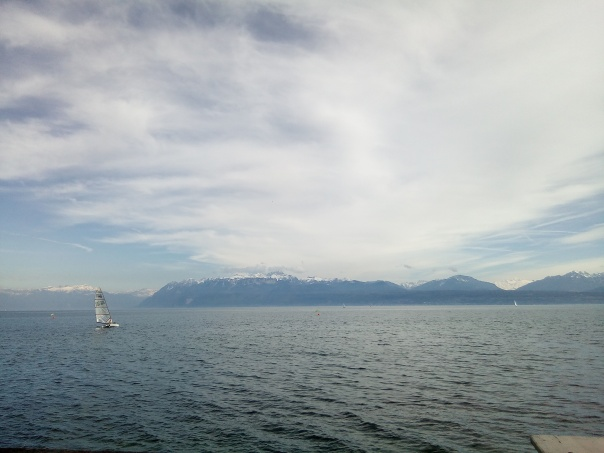 morges lake geneve alps